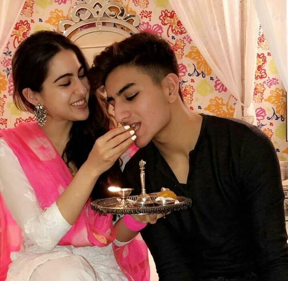 Sara ali khan with her brother